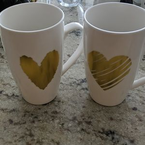 5/$45 West Elm Gold Heart Mug Set